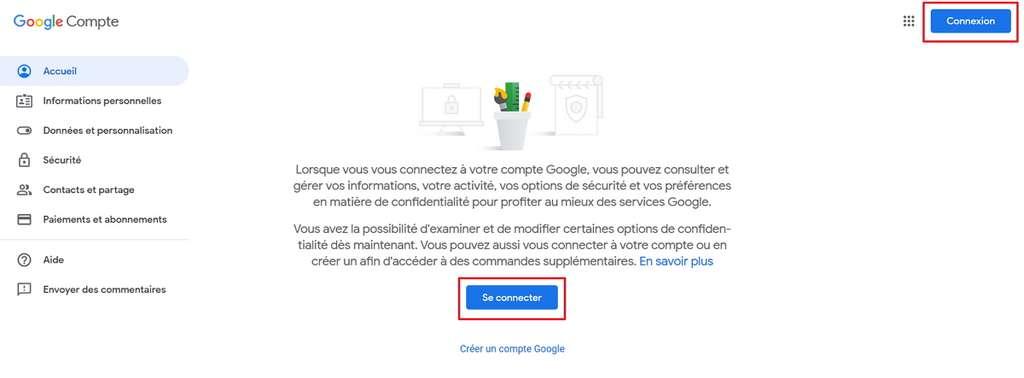 Connectez-vous à votre compte Google. © Google