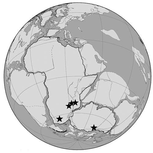 Carte paléogéographique du sud de la Pangée, ce supercontinent qui regroupait toutes les terres émergées, avant de se disloquer vers la fin du Trias. Les étoiles indiquent la position des terrains de fouilles datant du Permien (257 Ma) et du Trias (242 Ma). Les fossiles récemment découverts, et ceux existants dans les collections, proviennent de cinq bassins situés dans le sud la Pangée. Aujourd'hui, ces fossiles font partie (de gauche à droite) de l'Afrique du Sud, de la Zambie, du Malawi, de la Tanzanie et de l'Antarctique. © Université du Texas à Austin, université de Washington