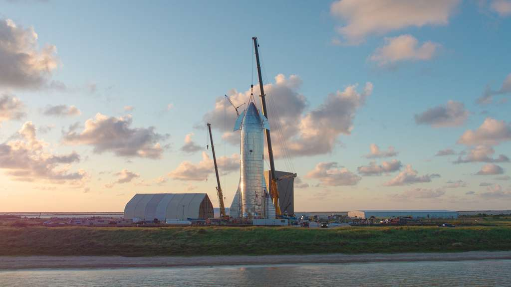 MK1, un des prototypes du Starship en cours de construction sur le site de Bocca Chica (Texas) de SpaceX. © SpaceX