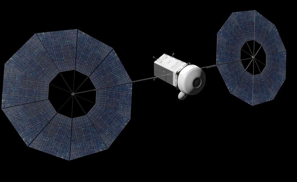 Concept avancé de véhicule spatial conçu pour récupérer un astéroïde de petite taille et le ramener près de la Terre. © Nasa, JPL