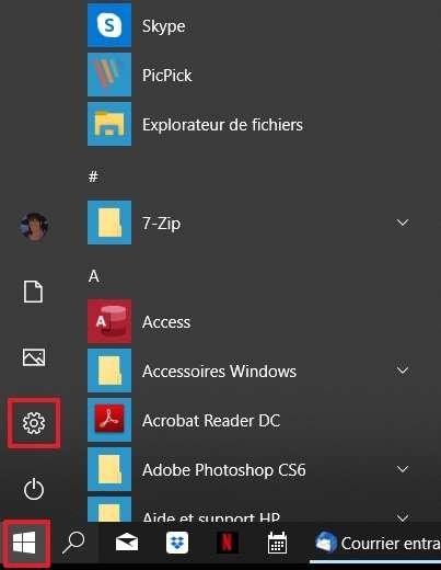 Allez dans les paramètres de Windows 10. © Microsoft