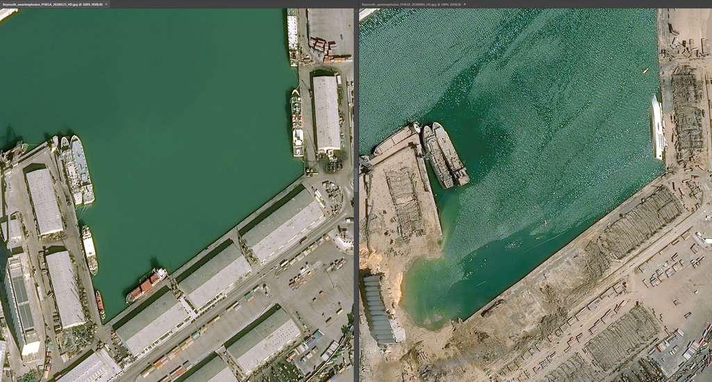 Ces images satellite montrent le lieu où se trouvait l'entrepôt stockant le nitrate d'ammonium. © Cnes diffusion, Airbus DS Geo 2020