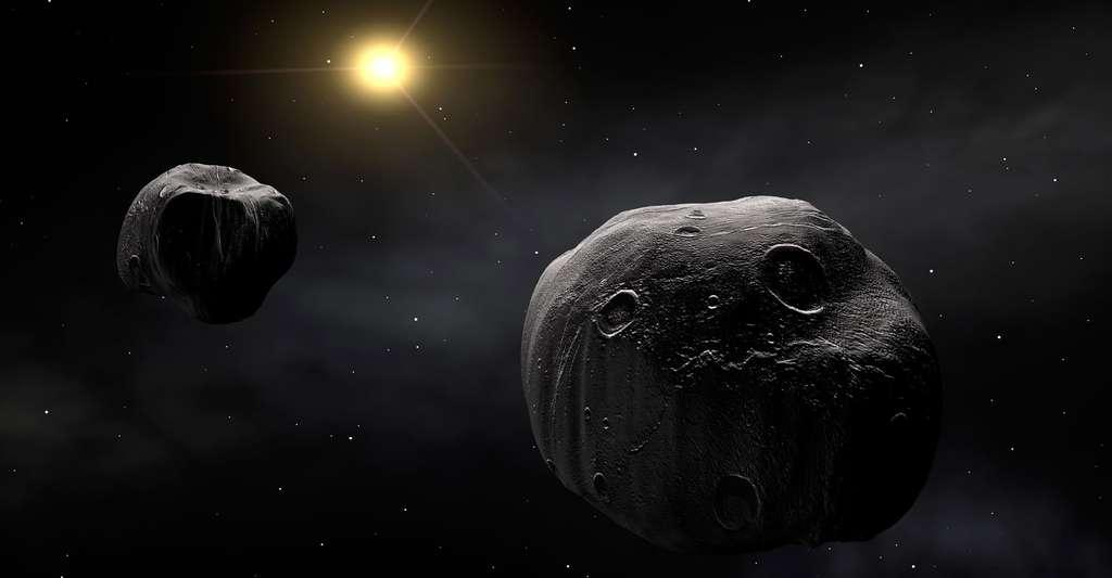 Vue d'artiste du double astéroïde 90 Antiope, dans notre Système solaire. © Eso, CC by 4.0
