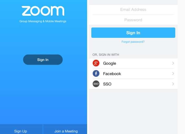 Lorsqu'on décide de s'inscrire en utilisant Facebook, on accepte que des données personnelles soient partagées. © Zoom