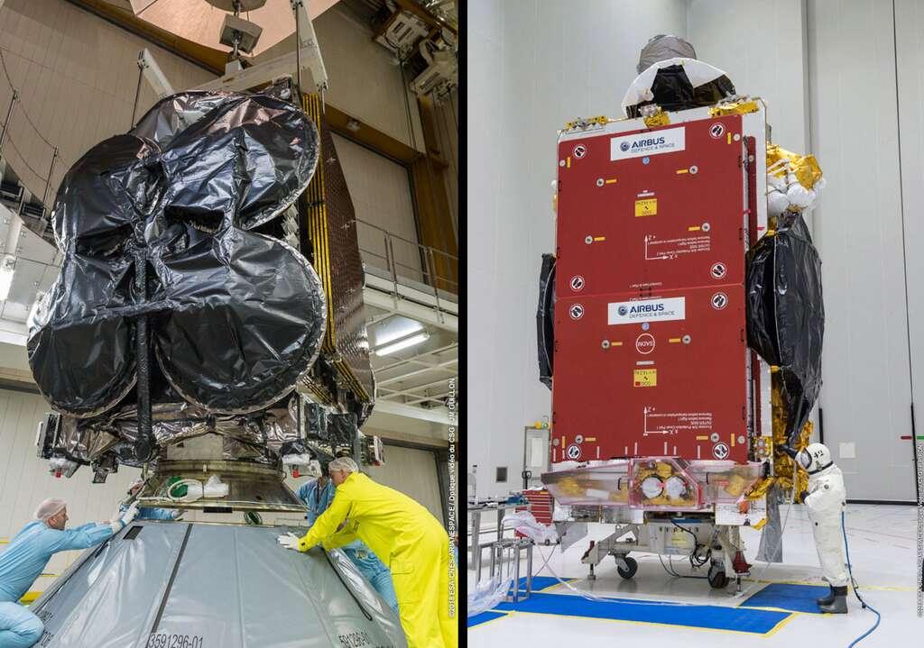 À gauche, le satellite Al Yah 3 installé sur le lanceur et à droite le satellite SES 14 en cours de remplissage dans le bâtiment S5 de préparation des satellites. © Cnes, Arianespace, CSG