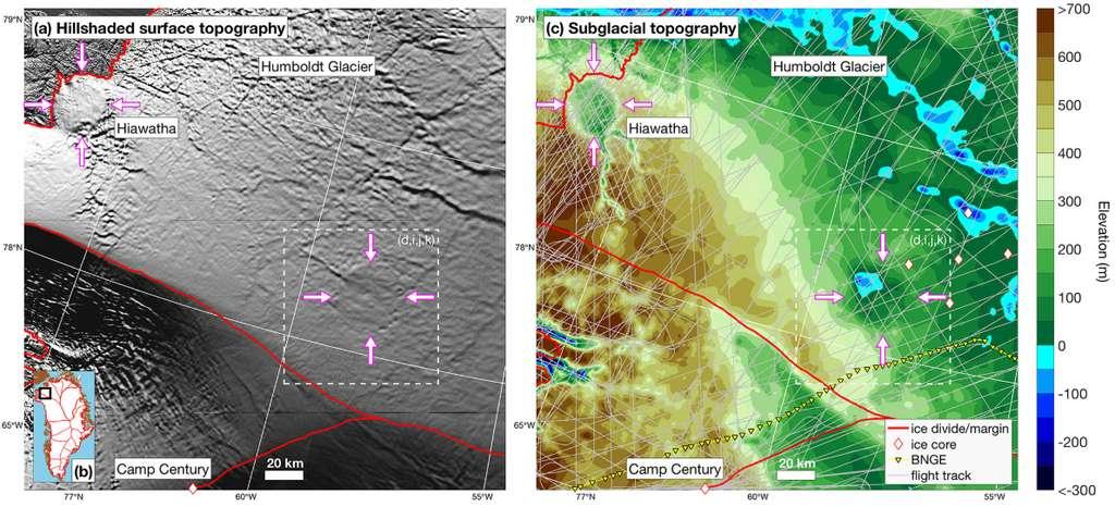 Le cratère de Hiawatha et le deuxième cratère découvert au nord-ouest du Groenland apparaissent sur les images topographiques de la surface, à gauche, et du relief subglaciaire. © Joseph A. MacGregor et al., Geophysical Research Letters, 2019
