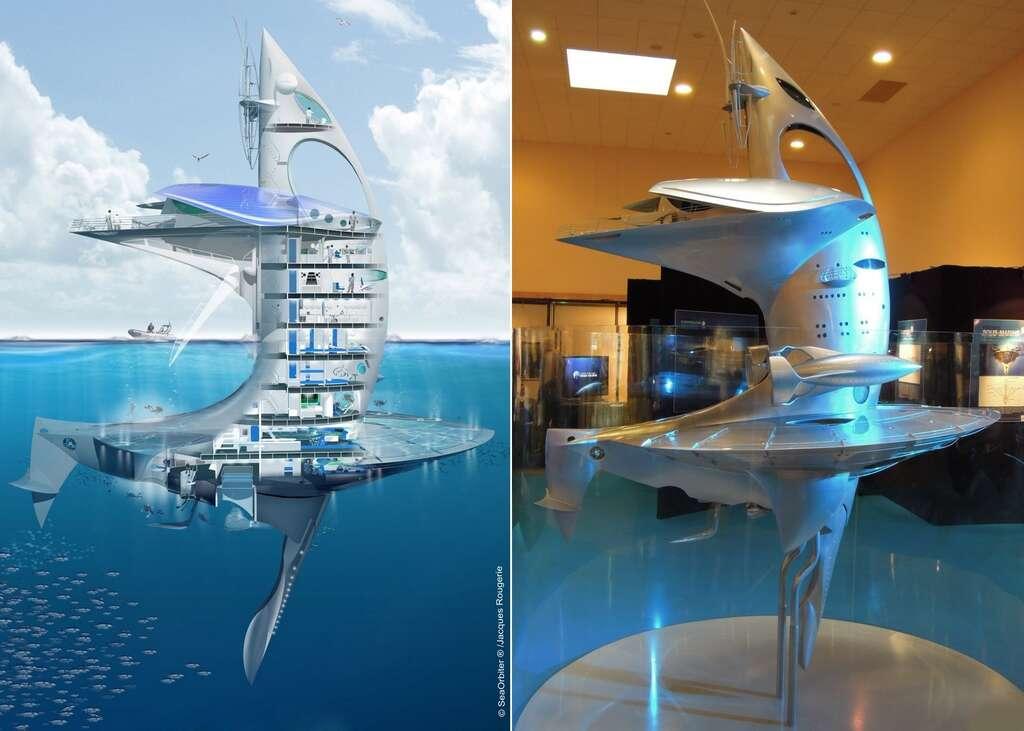 La maquette de Sea Orbiter, le laboratoire océanographique flottant, a été présentée pour la première fois en France lors du Festival mondial de l'image sous-marine qui se tenait à Marseille début novembre. © Sea Orbiter, Jacques Rougerie (dessin de gauche), Jean-Baptiste Feldmann (photo de droite)