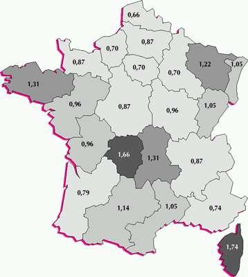 Radioactivité moyenne du sol selon les régions ©CEA/IRSN