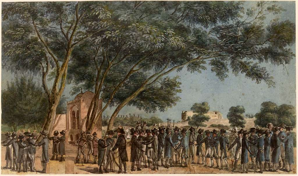 Jardins de l'Institut d'Egypte, aquarelle d'André Dutertre vers 1800. Bibliothèque nationale de France. © gallica.bnf.fr / BnF.