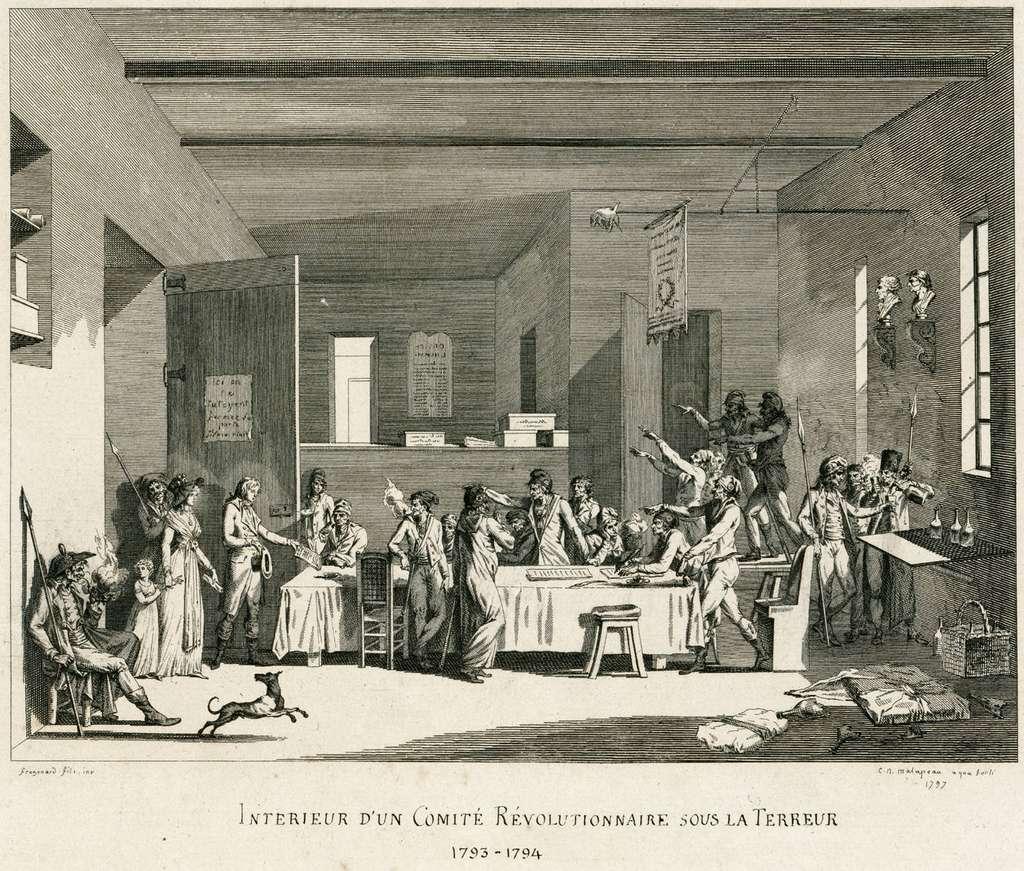 """""""Intérieur d'un comité révolutionnaire sous la Terreur. 1793-1794"""", d'après Fragonard fils. Collection De Vinck (BNF). © Gallica, Wikimedia Commons, DP"""