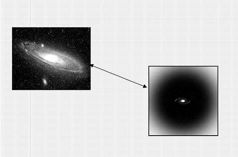 L'étude de la rotation des galaxies spirales montre que la partie visible de ces objets n'est que la pointe de « l'iceberg » que serait le halo de matière noire. © DR