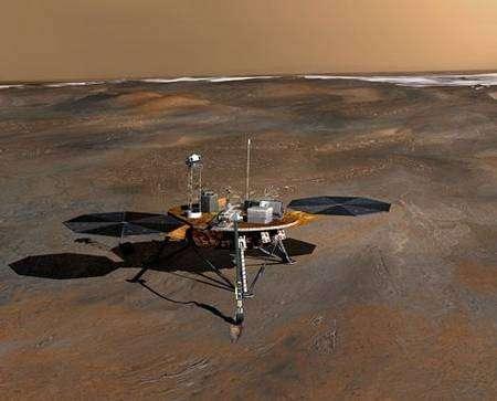 Vue d'artiste montrant Phoenix sur le sol martien. NASA.