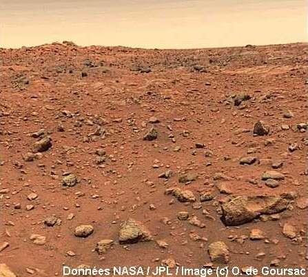 Bonne version de l'image de Mars. © Données Nasa/JPL/Images © O. de Goursac.