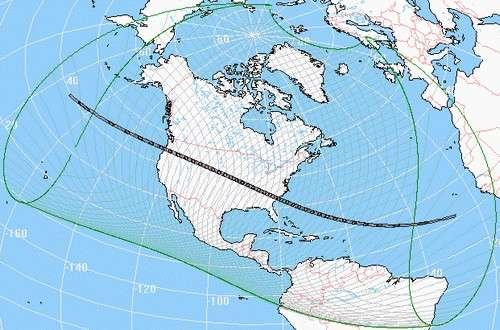 Trajet de la bande de totalité et pénombre de l'éclipse.