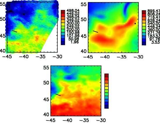 Comparaison des flux de chaleur latente (en W/m2) déduits d'observation satellite (gauche), et calculés par le modèle de prévision du Centre Européen de Prévision Météorologique à Moyen terme, sur une même région de l'Atlantique nord, pour un jour d'hiver. On constate une forte variabilité spatiale du flux satellite, en relation avec la structure spatiale de température de surface (courant chaud, figure en dessous) et de vent, qui n'est pas reproduite par le modèle. © D. Bourras