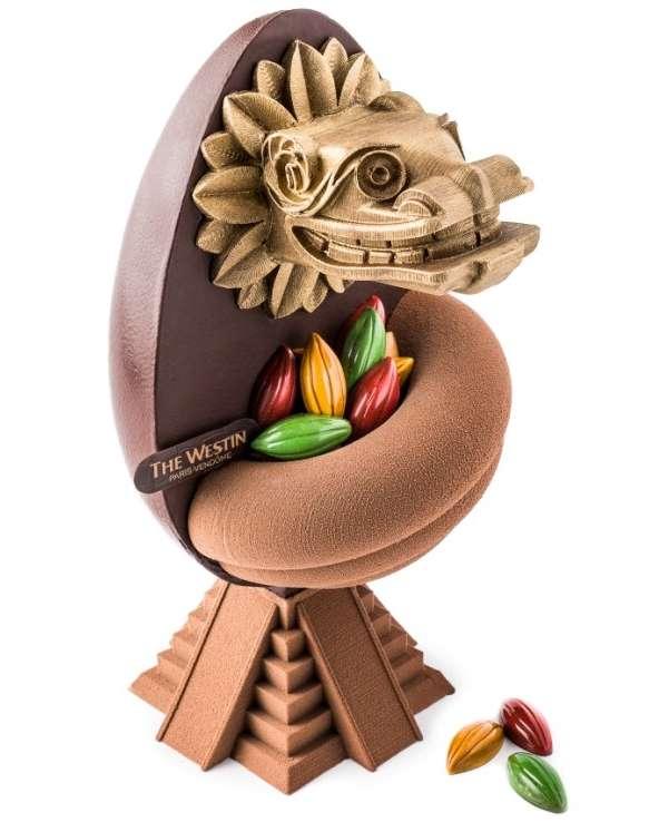L'œuf de Pâques 2016 de l'hôtel-restaurant Westin Paris Vendôme, inspiré par Quetzalcoatl. Première réalisation sur mesure issue de Print Eat. © Westin, DR