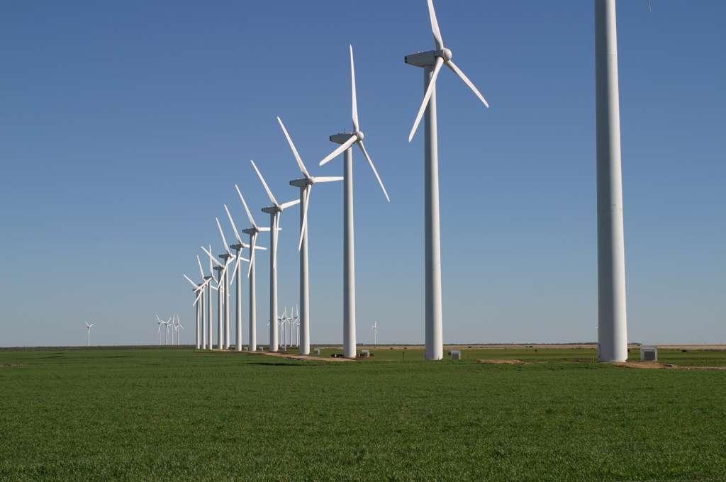 Ce parc éolien du Texas, Brazos Wind Farm, comprend 160 éoliennes. Comme il s'étend sur plus de 100 km2, il est donc possible que sa capacité de production d'énergie soit moins importante que calculée jusqu'à présent, selon une nouvelle étude. © Leaflet, DP