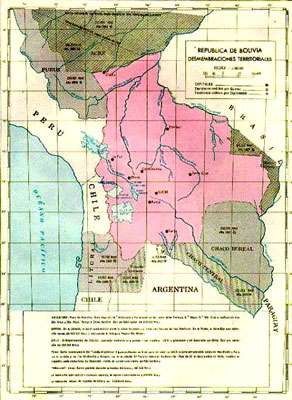 Carte de la Bolivie en 1825.