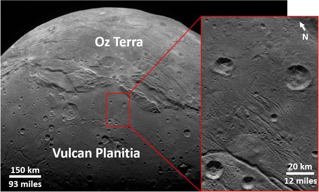 Exemple de cratères à la surface de Charon, dans la plaine Vulcan Planitia vue par la caméra Long Range Reconnaissance Imager (Lorri) de la sonde New Horizons lors de son survol du système plutonien en 2015. © NASA/JHUAPL/LORRI/SwRI