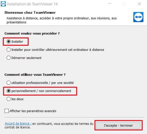 Cliquez sur « J'accepte – terminer » après avoir choisi « Installer » et « personnellement/non commercialement ». © TeamViewer GmbH