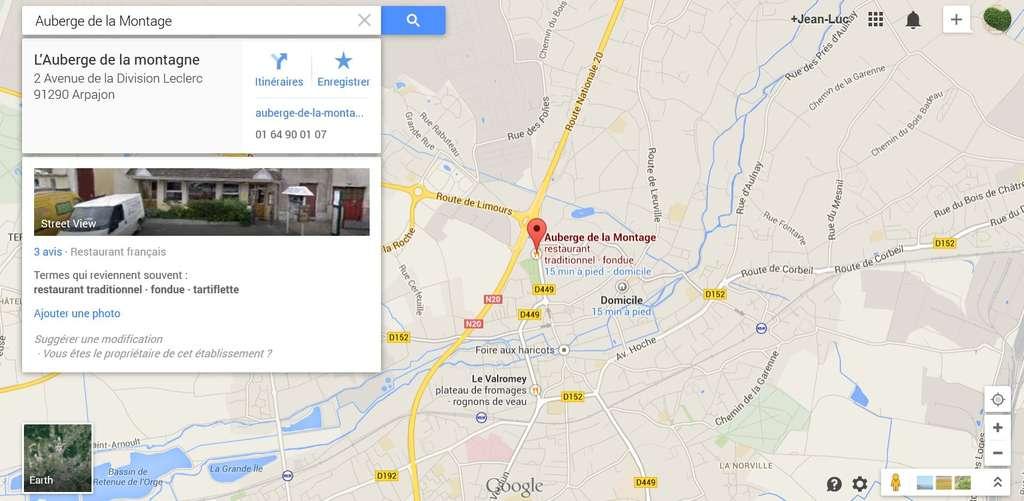 L'affichage plein écran se complète d'images provenant de Google Earth ou d'ailleurs. Pratique, mais intrusif quand l'écran s'adapte aux habitudes de l'utilisateur. © Capture d'écran Google Maps, Futura-Sciences
