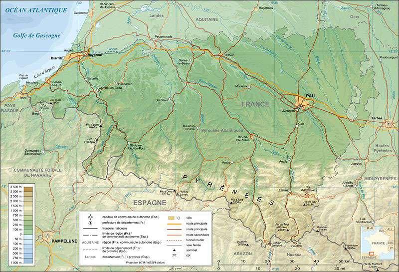 Carte topographique des Pyrénées Atlantiques. © Sting, Licence Creative Commons Paternité – Partage des conditions initiales à l'identique 3.0 Unported, 2.5 Générique, 2.0 Générique et 1.0 Générique