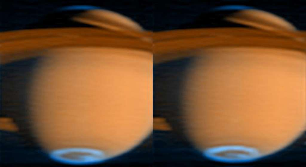 Image en fausses couleurs capturée par Cassini en 2005, l'aurore est visible en bleue aux pôles de Saturne. © Nasa, JPL, University of Colorado