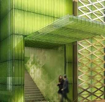 Une vision d'artiste d'un bâtiment entièrement équipé du dispositif d'Ennesys, y compris sur les façades. Mais l'intégration de ces systèmes, composés d'algues, pourra prendre de nombreuses formes. « Il y a beaucoup de solutions d'architecture pour rendre les photobioréacteurs visibles ou pas », rapporte Christine Grimault d'Ennesys. © Ennesys