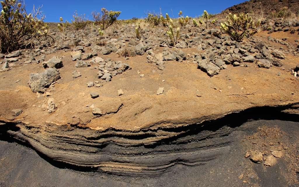 Dépôts volcaniques (téphras) du volcan Haleakala (Hawaï). © Martin Mergili, imaggeo.egu.eu