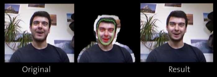 À gauche, l'image originale issue d'une conversation vidéo sur Skype. On constate que le regard de la personne est dirigé vers le haut. Au centre, le logiciel associé au capteur Kinect a extrait le visage de son contexte en conservant un contour qui sera utilisé pour fusionner l'image rectifiée dans l'arrière-plan original. 66 points de coordonnées sont appliqués sur le visage afin pouvoir le réorienter pour créer l'illusion que la personne regarde son interlocuteur droit dans les yeux, comme le montre le résultat final sur l'image de droite. © ETH, Computer Graphics Laboratory