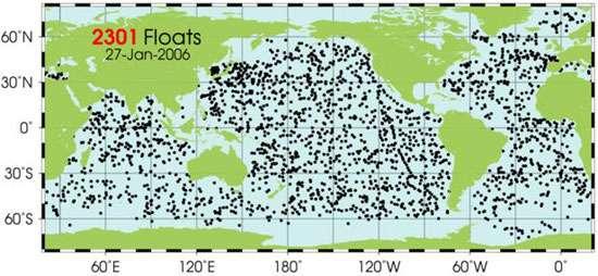 Fig. : 5 - La répartition des flotteurs du programme ARGO.