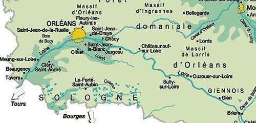 Le Loiret est bien visible de bout en bout sur cette carte. © Domaine public