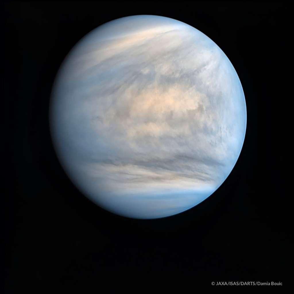 Vénus en fausses couleurs photographiée par les caméras ultraviolet de la sonde japonaise Akatsuki, image retraitée par Damia Bouic. © Jaxa, Isas, Darts, Damia Bouic