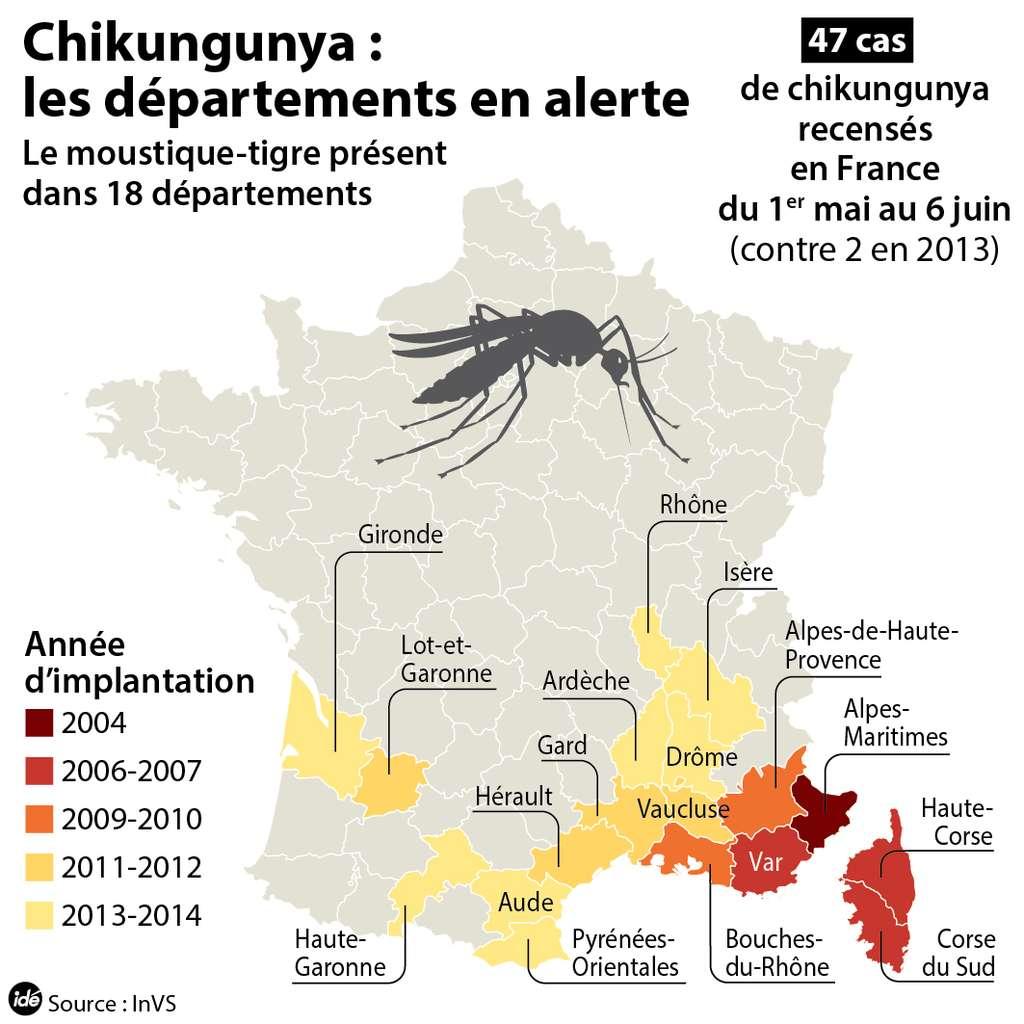 En 2014, le moustique-tigre était présent dans différents départements français et pouvait transmettre le chikungunya en France métropolitaine. © idé