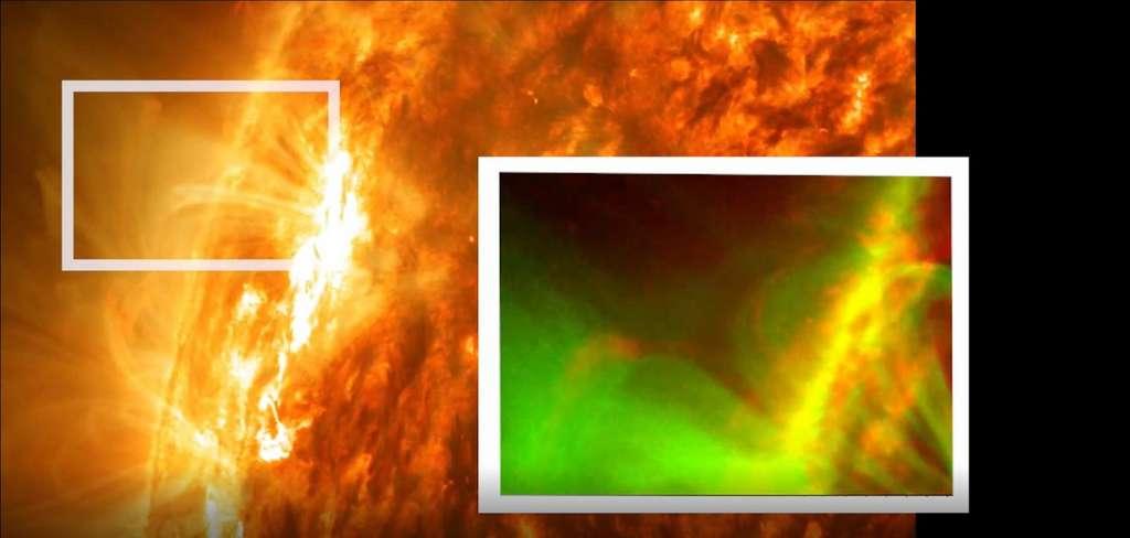 Cette image a été prise par SDO le 3 mai 2012. L'encart zoome sur une reconnexion magnétique forcée observée pour la première fois. © Nasa, SDO, Abhishek Srivastava, IIT (BHU)