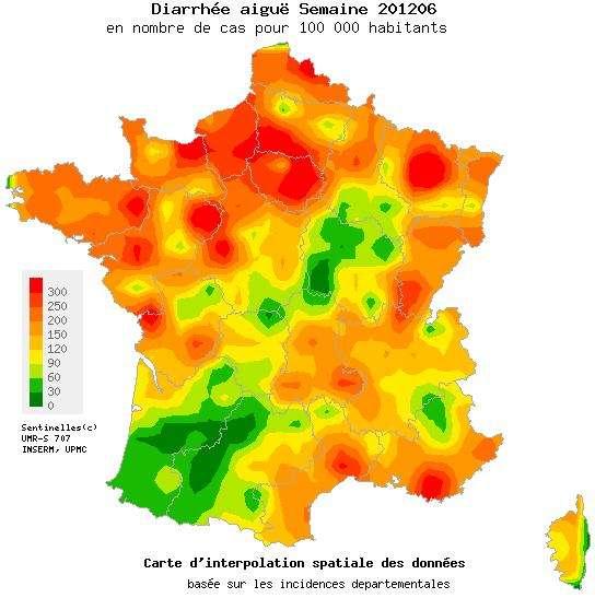 L'épidémie de gastroentérite est passée, mais le Nord de la France a encore été touché la semaine passée. © Réseau Sentinelles