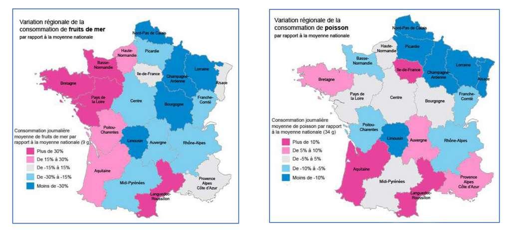 On mange beaucoup plus de poisson dans l'ouest de la France, et surtout plus de fruits de mer. © Nutri-Santé, DP