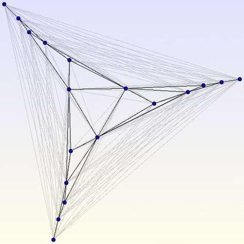 Un graphe complet à 18 sommets comptant exactement 1029 points d'intersection. Pour plus de clarté, la structure générale du graphe a été mise en valeur. Crédits : S. Tummarello