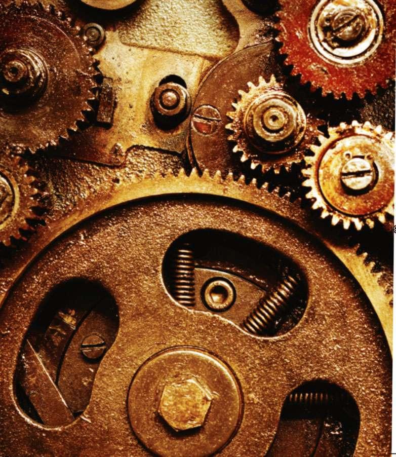 Les engrenages ont joué un rôle important dans l'histoire. Les mécanismes à engrenage augmentent l'application de la force ou du couple, et permettent aussi de changer la vitesse et la direction d'une force. © Clifford A. Pickover