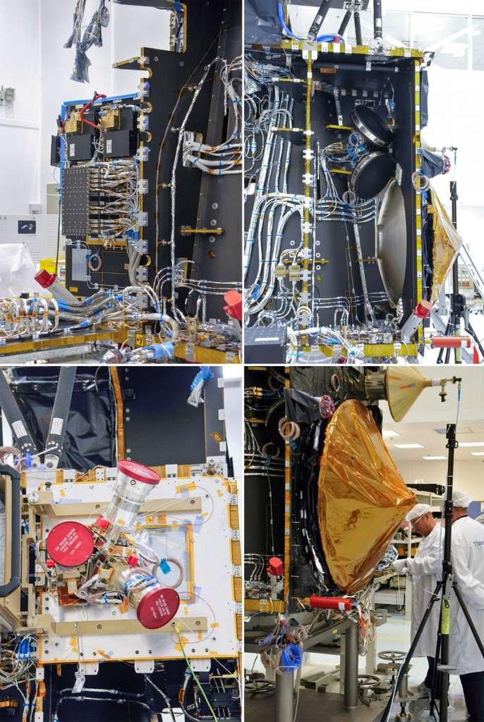 Détails du satellite Sentinel 3. En haut l'électronique du satellite et (à droite) deux roues de réaction. En bas, le viseur d'étoiles (ou star tracker), à gauche, et l'antenne du radar SRAL, à droite. © Rémy Decourt