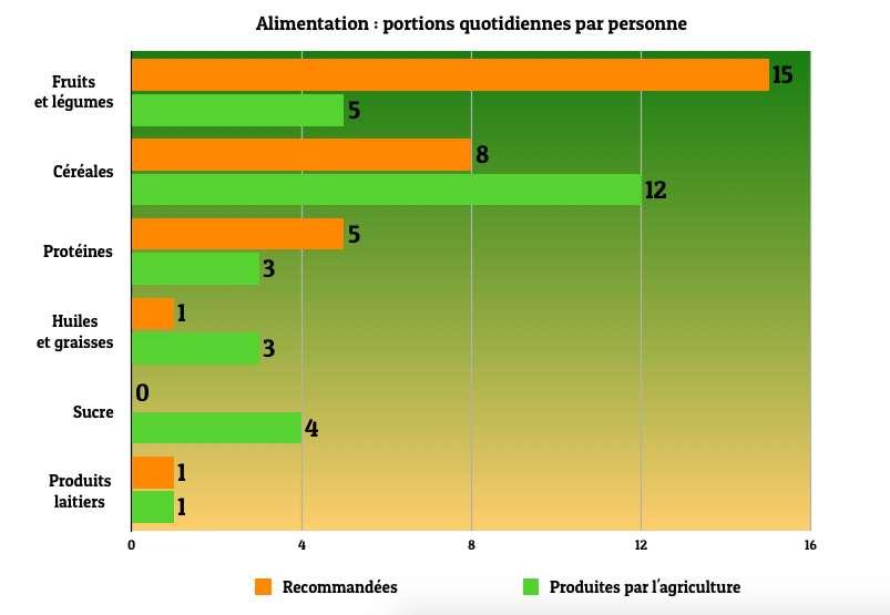 L'agriculture mondiale est largement déséquilibrée : elle produit ainsi trois fois moins de fruits et légumes que ce qu'il faudrait pour alimenter les sept milliards d'humains selon les recommandations nutritionnelles. © Céline Deluzarche, Futura, d'après Krishna Bahadur KC et al., PLOSOne, 2018