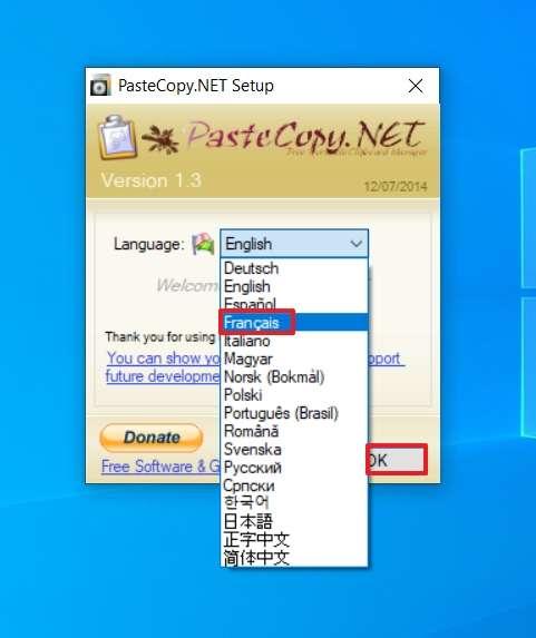 Définissez la langue de PasteCopy.NET © SundryTools.com