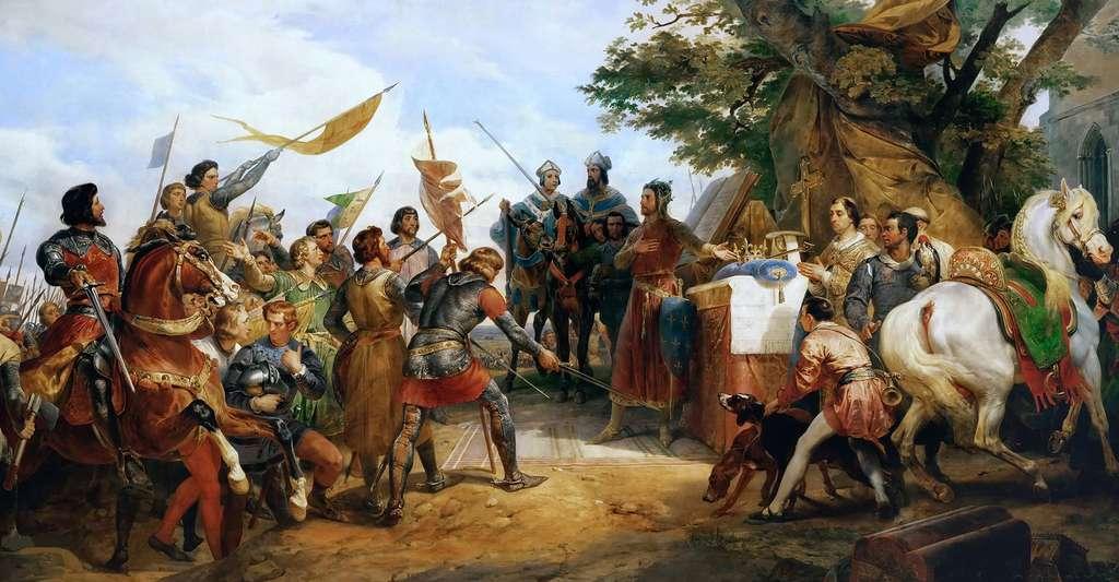 Représentation de la bataille de Bouvines gagnée par Philippe Auguste en 1214, soit plus d'un siècle avant le début de la guerre de Cent Ans. © PHGCOM, Wikimedia Commons, DP