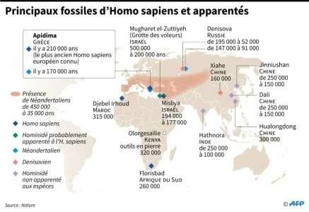 Carte figurant les lieux où ont été trouvés les principaux fossiles d'hominidés. © AFP