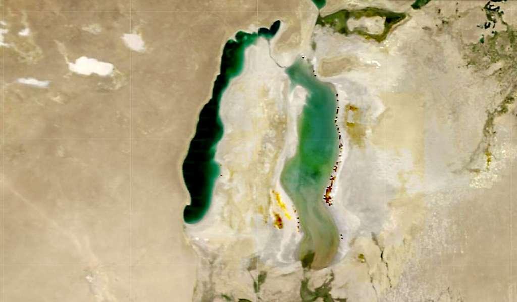Autrefois, la mer d'Aral — ici en 2010 — était le quatrième plus grand lac du monde. © Sentinel Hub