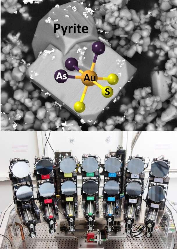 En haut, cluster atomique formé par la rencontre de l'or avec l'arsenic et le soufre lors de son incorporation dans la pyrite arsénifère. En bas, dispositif de spectroscopie d'absorption de rayons X de haute résolution sur synchrotron (ligne de lumière FAME-UHD). © G. Pokrovski, M. Kokh, M. Blanchard, D. Testemale
