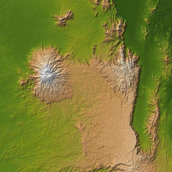 Le mont Elgon, en Afrique, vu de l'espace