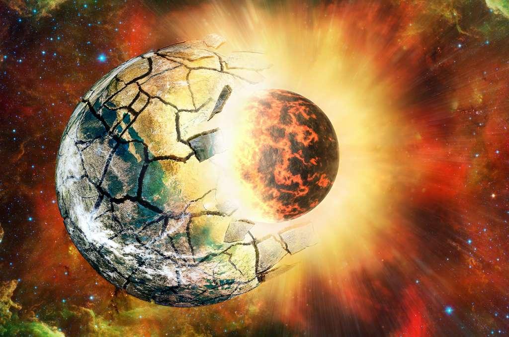 Les planètes qui finissent sur des orbites elliptiques peuvent y être arrivées via des rencontres violentes avec des planètes voisines, des collisions fatales ou des accidents qui secouent les planètes. Certaines de ces rencontres peuvent avoir complètement éjecté des planètes de leurs systèmes planétaires. Ce qui expliquerait pourquoi les planètes avec des orbites excentriques ont moins de frères et sœurs. © Oleksandrum, Adobe Stock