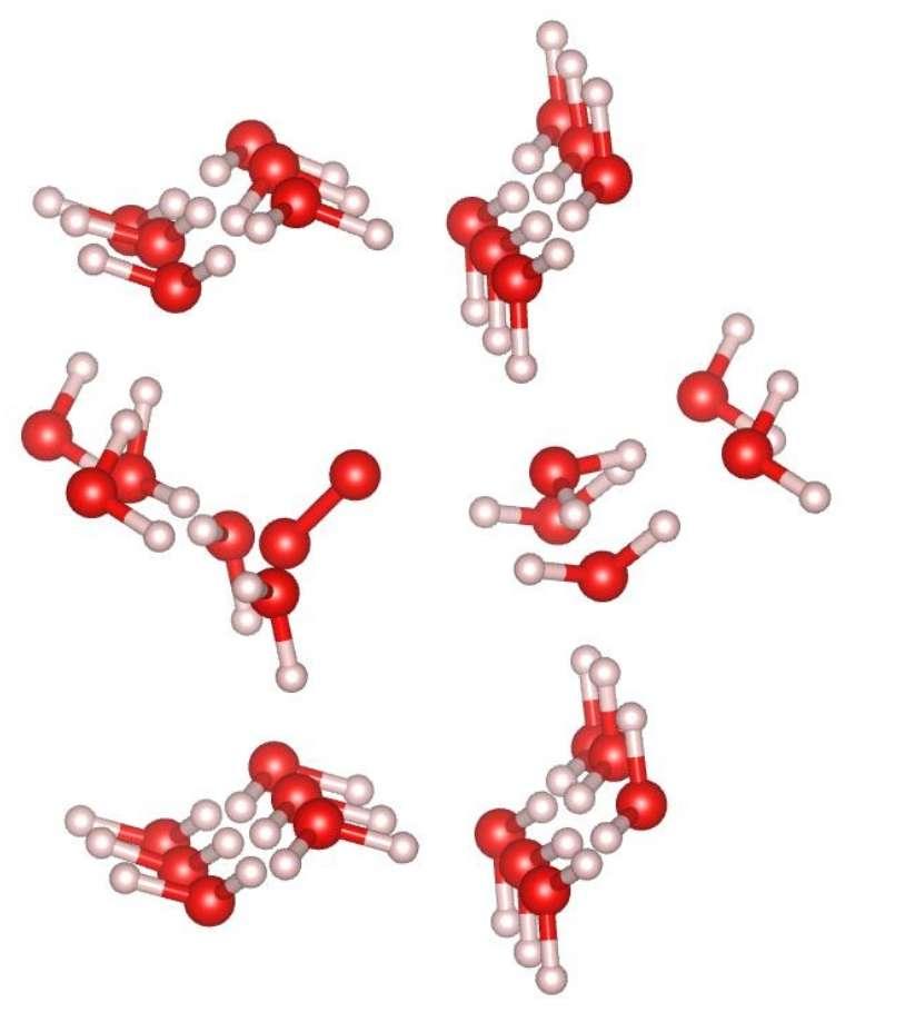 Une molécule d'oxygène (les haltères rouges au centre du dessin) emprisonnée dans une cavité au sein d'un grain de glace. Les molécules d'eau (en rouge et blanc) forment un réseau cristallin qui, localement, peut retenir des molécules de gaz : c'est un clathrate. © O. Mousis et al.