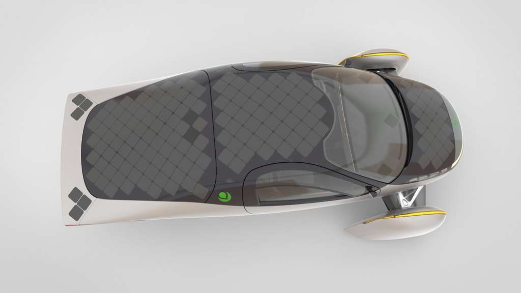 180 panneaux solaires recouvrent la carrosserie de l'Aptera. © Aptera Motors